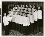Choir in rehearsal, Northwestern Lutheran Theological Seminary, 1958, Minneapolis, Minnesota